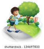 illustration of a boy with a... | Shutterstock .eps vector #134697833