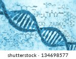 dna molecules on the science... | Shutterstock . vector #134698577