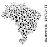 Soccer ball composed in the shape of Brazil map on white background - stock photo