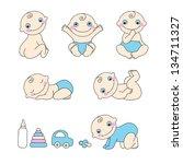 set of baby boy. vector... | Shutterstock .eps vector #134711327