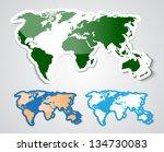 world map in sticker style   Shutterstock . vector #134730083