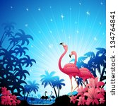 Pink Flamingos on Blue Tropical Landscape - stock photo