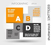 orange and grey infographic squares ABCD. infographic concept.
