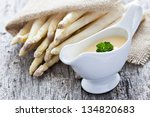 fresh asparagus and sauce hollandaise - stock photo