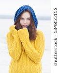 beautiful happy girl in yellow... | Shutterstock . vector #134855153