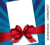card with bow and textured... | Shutterstock .eps vector #134863937
