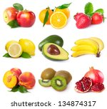 collection of fresh fruits... | Shutterstock . vector #134874317