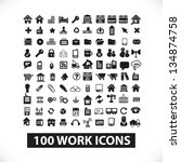 100 web, work, business, office icons set, vector - stock vector
