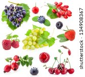 collection of berry isolated on ...   Shutterstock . vector #134908367