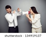 angry woman shouting at the man ... | Shutterstock . vector #134919137