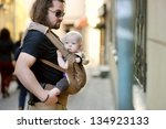 young father and his baby girl... | Shutterstock . vector #134923133