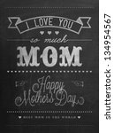 Happy Mother's Day Typographical Background On Blackboard With Chalk - stock vector