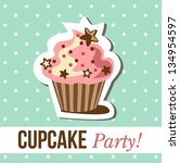 card with cup cake. vector illustration - stock vector