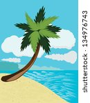 cartoon tropical beach with...   Shutterstock . vector #134976743