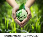 green world in the heart hand   ... | Shutterstock . vector #134992037