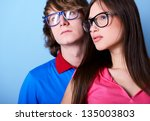 fashionable young couple... | Shutterstock . vector #135003803
