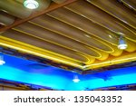 Ceiling of an old fifty's style diner with neon - stock photo