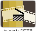 movie icon in retro color style ... | Shutterstock .eps vector #135075797