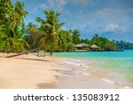 beautiful beach on the island - stock photo