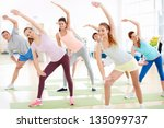 active young people in fitness... | Shutterstock . vector #135099737