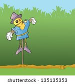 scarecrow keeping watch over... | Shutterstock .eps vector #135135353
