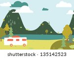 Camping wooden with tent and bus. Vector illustration