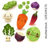fruit and vegetable collection | Shutterstock .eps vector #135144173