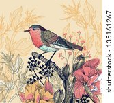 vector floral illustration of a little bird and blooming flowers - stock vector