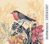 vector floral illustration of a ... | Shutterstock .eps vector #135161267