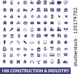 100 construction, architecture, industry, real estate icons set. vector - stock vector