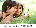 happy kid exploring nature with ...   Shutterstock . vector #135191627