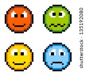 8-bit pixel emotion icons: angry, sick, happy, sad - stock vector