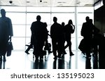 people traveling on airport... | Shutterstock . vector #135195023