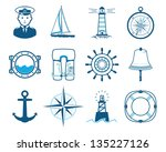 Sea Sailing icons set - stock vector