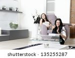 two young friends watching...   Shutterstock . vector #135255287