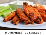 chicken wings with celery and...   Shutterstock . vector #135256817