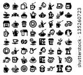 big coffee and tea icons set... | Shutterstock .eps vector #135260723