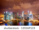 Night aerial view of Singapore downtown - stock photo