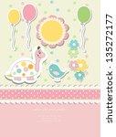 vintage doodle baby vector card ... | Shutterstock .eps vector #135272177