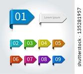 vector arrow labels and numbers ... | Shutterstock .eps vector #135281957
