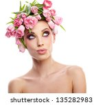 beauty woman portrait with... | Shutterstock . vector #135282983