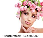 beauty woman portrait with... | Shutterstock . vector #135283007