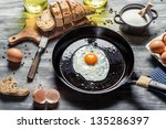 Fried Egg On A Pan Served With...