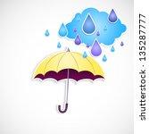 yellow umbrella and rain... | Shutterstock .eps vector #135287777