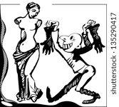 comic illustration of sellers... | Shutterstock .eps vector #135290417