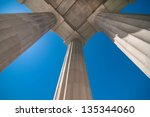 neoclassical ionic architectural details - stock photo