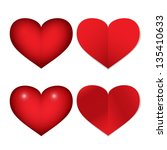 heart icons   set   isolated on ... | Shutterstock .eps vector #135410633
