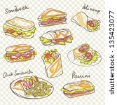 vector sandwich doodle with... | Shutterstock .eps vector #135423077
