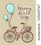bicycle with balloons  romantic ... | Shutterstock .eps vector #135423767