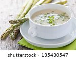 fresh asparagus soup in a bowl - stock photo